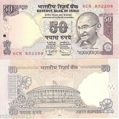 INDIA 50 Rupees Banknote World Currency Money BILL Asia p97i 2010 note Gandhi