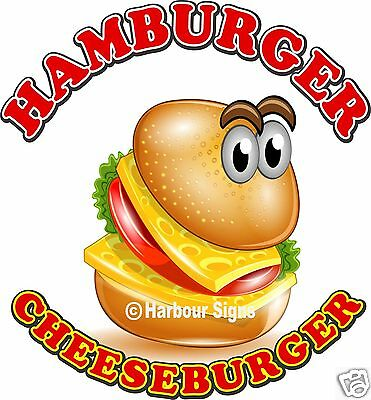 "Hamburger Cheeseburge Decal 14"" Food Truck Restaurant Concession Vinyl Sticker"