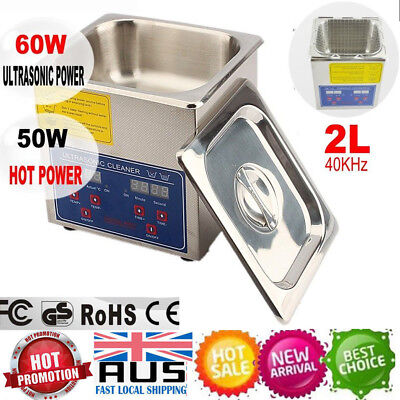 New 2L Stainless Steel Ultrasonic Cleaner  Heater Mechanical Industrial Grade