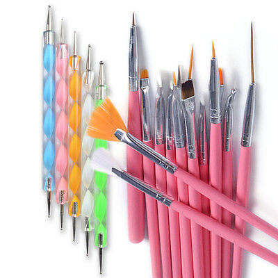 Pack of 20 Nail Art Pen Design Brushes Kit Painting Drawing Polish Dotting Set