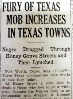 1930 newspaper NEGRO Man LYNCHED & dragged behind auto at HONEY GROVE Texas