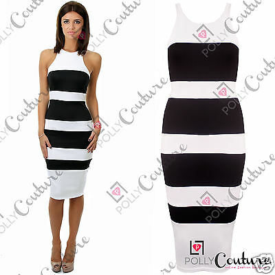 Womens Monochrome Sexy Stripe Fitted Bodycon Smart Cocktail Evening Party Dress