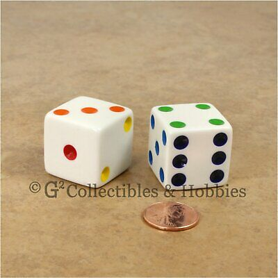 NEW 2 Jumbo 25mm White w/ Multi-Color Pips Dice Pair RPG Board Game D6