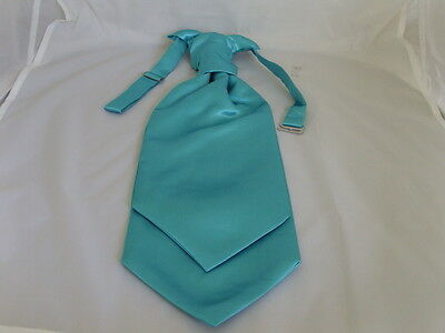 Light TURQUOISE Mens Scrunchie Ruche CRAVAT-Tie-The More U Buy>The More £ U Save