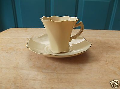 Vintage Small Pale Yellow Royal Crest China Tea Cup and Saucer Set