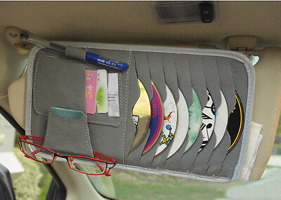 Gray Car Interior Sun Visor Multifunction Leather DVD Case CD Folder Pocket Bag