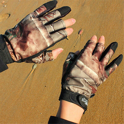 1 Pair 3 Cut Finger Anti-Slip Tactical Camo Jungle Fish Fishing Sports Gloves