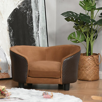 PawHut Pet Sofa Bed Chair Dog Cat Plush Couch Lounge w/ Washable Cushion Brown