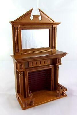 Melody Jane Dolls House 1:12 Wooden Walnut Fireplace with Mantle Mirror