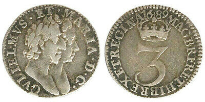 Inghilterra/great Britain 3 Pence 1689 (Km#470.1) Argento/silver #5459A