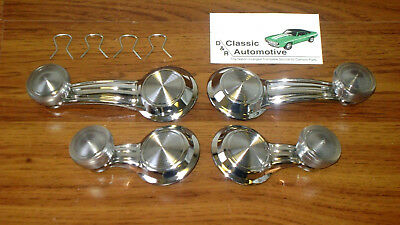 Vent + Window Crank Handles 4pc Set w/ Clips 68-72 *In Stock* Chrome/Clear knob