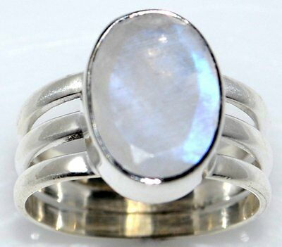 Birthstone 925 Sterling Silver Rings FACETED Mystic MOONSTONE Solitaire Gem Ring