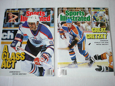 WAYNE GRETZKY on cover SPORTS ILLUSTRATED magazine LOT of 2 1987 1988 OILERS