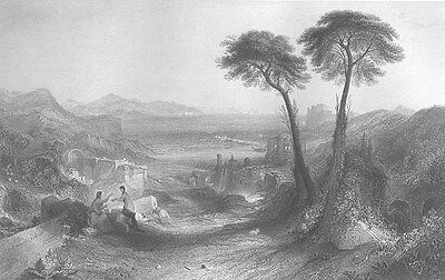 Italy BAY OF NAPLES BAIA CASTLE RUINS MOUNT AETNA ~ Old 1864 Art Print Engraving