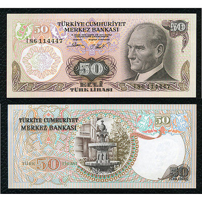 Turkey P-188 L1970(1976) 50 Lira Crisp Uncirculated