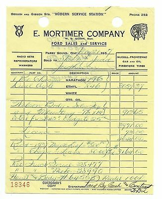 E. Mortimer Co. Ford Sales, Parry Sound Ontario, Invoice for Reo Truck 1937