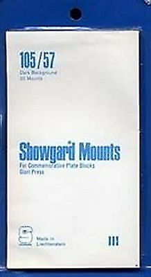 Showgard Stamp Mounts Size 105/57 BLACK Background Pack of 20