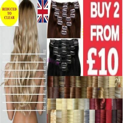 Long hair clip in hair extensions straight curly/wavy fibre hair red blonde
