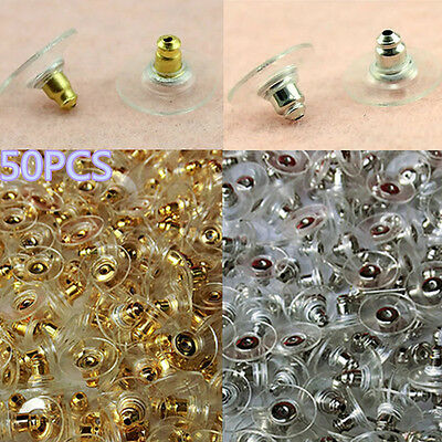 50X Silver/Golden Earring Backs Stoppers Pads Rubber Ear Post Nuts Jewelry Fing
