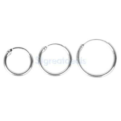 925 Sterling Silver Hinged Hoop Sleepers Earrings Rings Lip Nose 8mm to 12mm