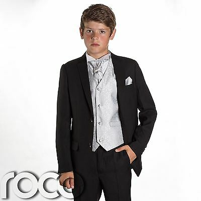 Boys Black Suit, Page Boy Suits, Prom Suits, Boys Wedding Suit, Silver Waistcoat