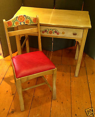 1930's Signed Monterey Spanish Mission Hand painted Desk and Chair