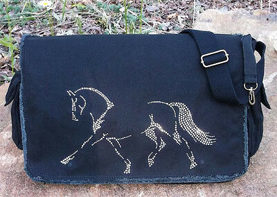 "Dressage Rhinestudded Equestrian 16"" Canvas  Messenger Bag New"
