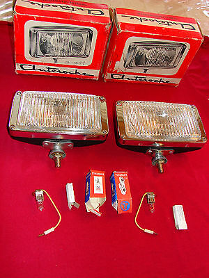 Vintage Nos Auteroche Chrome Fog Driving Lights Mercedes Porsche Bmw Vw Mgb