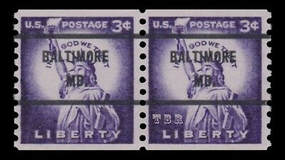 1057a Statue of Liberty 3c BALTIMORE MD Large Hole Dry Print Issue MNH - Buy Now