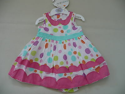 BNWT M&S Indigo Collection Spotty Summer Dress & Knickers up to 3 months 0-3 6kg