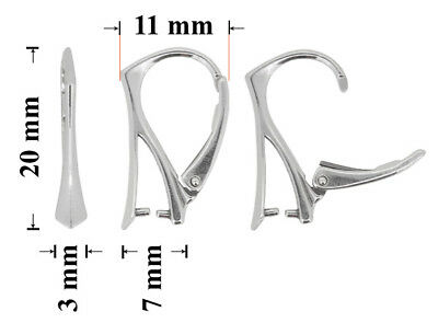 Sterling Silver Leverbacks Safety Earring Hooks with Pinch Bail 20x11mm