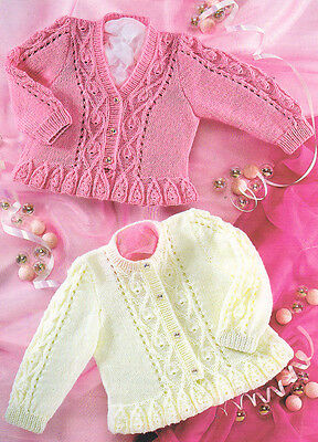 "Knitting Pattern ~  Frilled Edge V/Round Neck Baby Cardigan 16""- 26"" 4 ply"