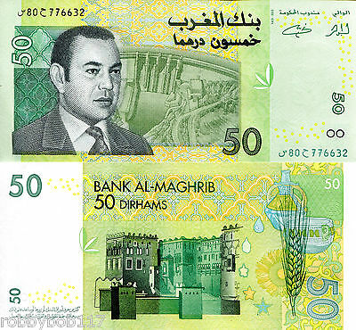 MOROCCO 50 Dirhams Banknote World Money UNC Currency Africa Note p69a 2002 Bill