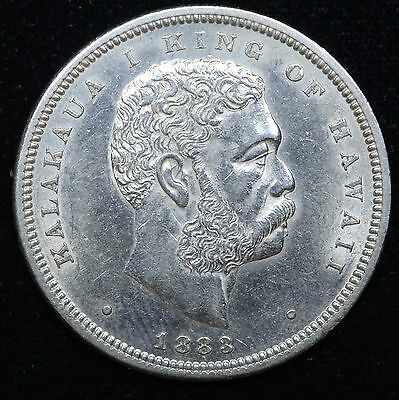 Hawaii 1/2 Dollar 50 Cents 1883 AU/UNC silver KM#6 50C Bright White Lustrous.