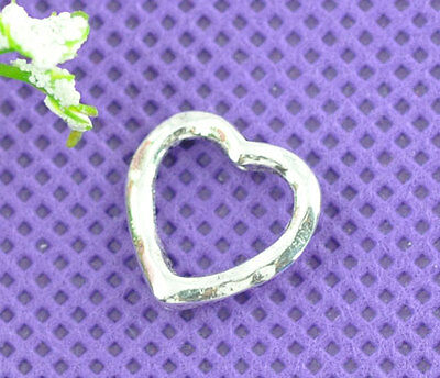 50 Silver Tone NEW Love Heart Bead Frames 14x14mm Findings