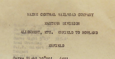 Original Maine Central RR Alignment Enfield to Howland Typed