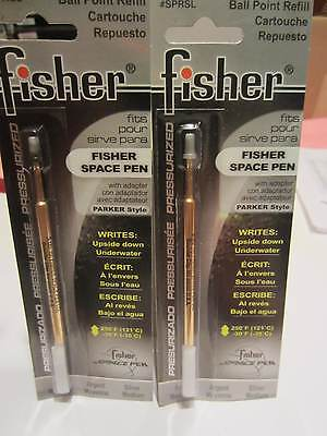 2 Fisher Pressurized Ballpoint Refill Silver Med -Sprsl- Fit Fisher Pens+Parker