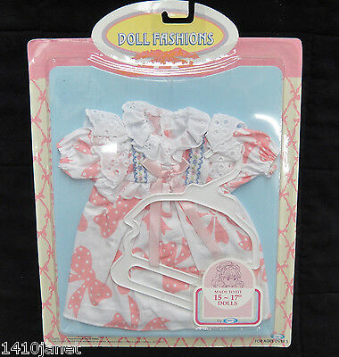 """Cititoy Baby Doll Dress Pink and White Bows and Hanger Fits 15-17"""" Dolls NOS"""
