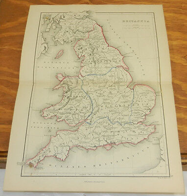 1861 Antique COLOR Map/ BRITANNIA (ENGLAND, SCOTLAND) /Classical