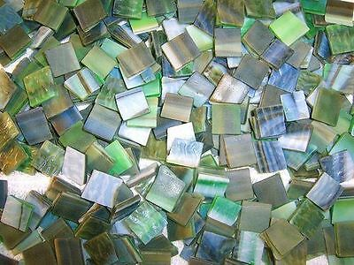 """100 1/2"""" Mountain Meadow Green Tumbled Stained Glass Mosaic Tiles"""