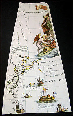 1693 Coronelli Antique Map Globe Gore Section of Japan, Siberia, Sailing Ships