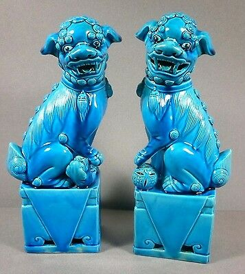 Vintage ASIAN CHINESE PAIR of LARGE FOO DOG STATUES Turquoise Blue Porcelain