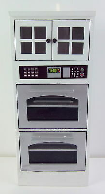 Dolls House Miniature White Wood Fitted Kitchen Furniture Unit with Double Oven