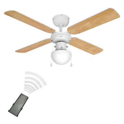 Modern Remote Control White & Beech Wood Effect 3 Speed Ceiling Fan with Light