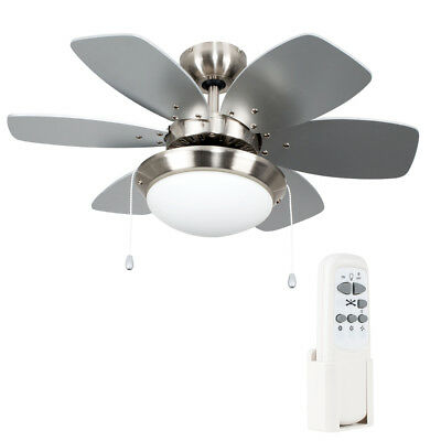 Modern Remote Control 3 Speed Silver / Chrome 6 Blade Ceiling Fan with Light NEW