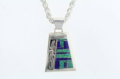 Signed Teme Navajo Native American Inlaid Blue Lapis & Opal Necklace Earring Set