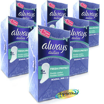 6x Always Dailies 32 Normal Pantyliners With Fresh Scent Acti Pearls