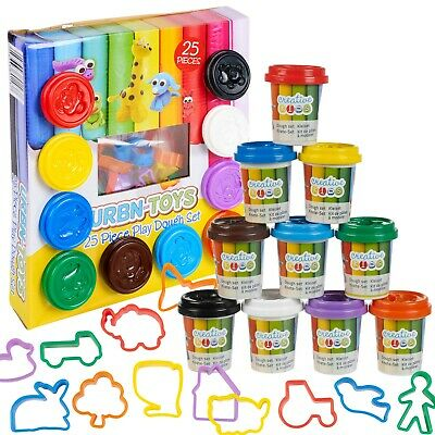25 Pcs Craft Dough Kids Gift Toy Set Tubs & Shapes Children Xmas Hobby Play Clay