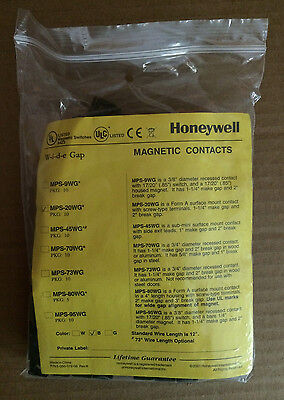"""Honeywell MPS-20WG Security Magnetic Contacts Wide 2"""" Break Gap Lot of 10 Brown"""