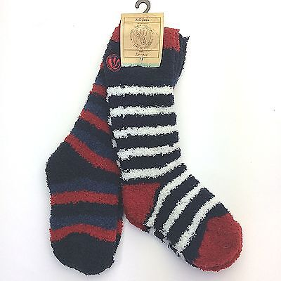 Fat Face ~ Red/navy/white, Boys Fluffy 2 Pack Winter Socks - 910111213123